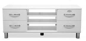Malibu - TV stolík (biela, 4x zásuvka, 2x police)