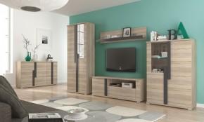 Markus - Obývacia stena, 2x vitrína, komoda, LED (dub sonoma)