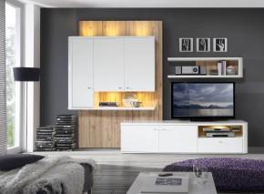 Marlow - Obývacia stena (biela/biela lesk/dub)