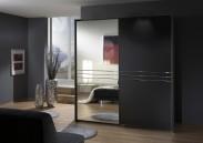Medina - Šatníková skriňa, 2x posuvné dvere (lava čierna)