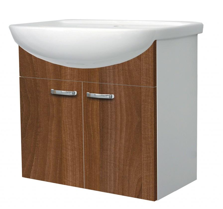 Melbourne - Skrinka s umývadlom 65cm (biela/orech)