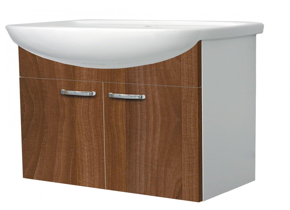 Melbourne - Skrinka s umývadlom 80cm (biela/orech)