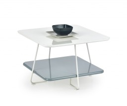 Melody - Konferenčný stolík s úložným priestorom (biela, sivá)