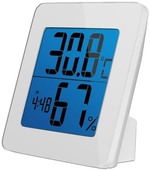 Meteostanice Solight teplomer, vlhkosť, budík, LCD, biely rámik, TE13W