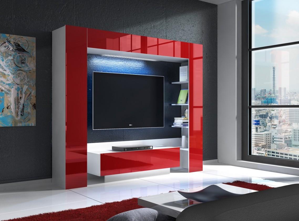 Mezek - obývacia stena (biela/červená)