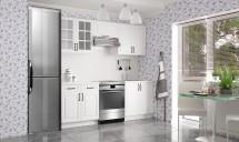 Michelle - Kuchynský blok, 160/220 (biela,biela, čierna úchytka)