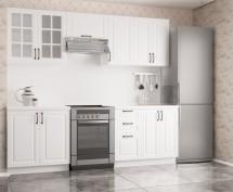 Michelle - Kuchynský blok, 180/240 cm (biela, čierna úchytka)
