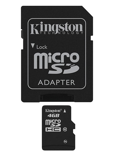 Micro SDHC Kingston Micro SDHC 4GB Class 10 + adaptér - SDC10/4GB