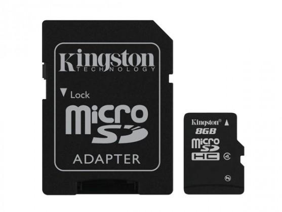 Micro SDHC Kingston Micro SDHC 8GB Class 4 + adaptér - SDC4/8GB