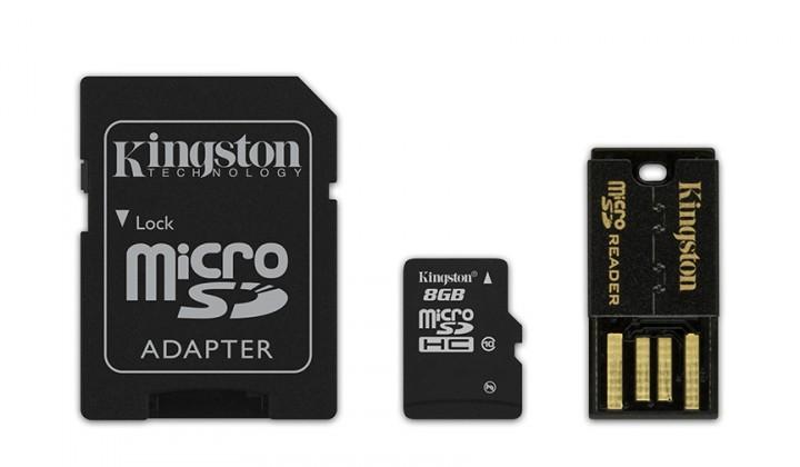 Micro SDHC Kingston Micro SDHC Mobility Kit G2 8GB C10+adaptér,USB čítačka