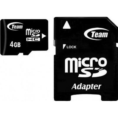Micro SDHC TEAM 4GB Micro SDHC/ Class 10/ + SD adaptér