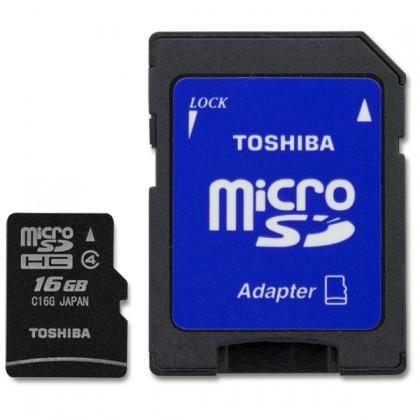 Micro SDHC Toshiba micro SD with Adapter  16GB