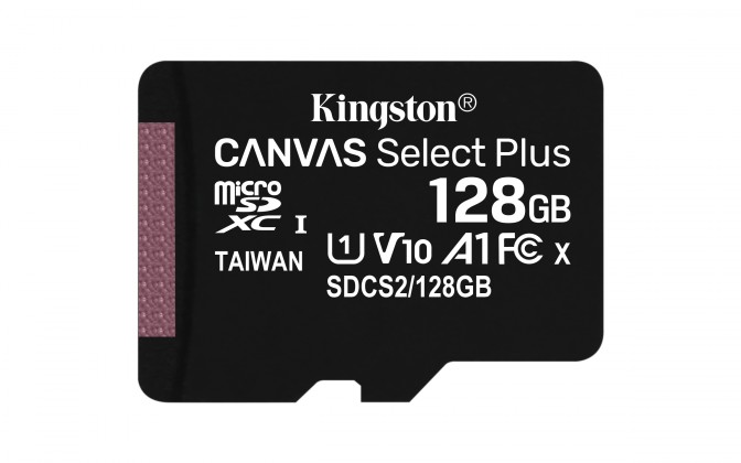 Micro SDXC 128GB microSDXC Kingston Canvas Select Plus  A1 CL10 100MB/s