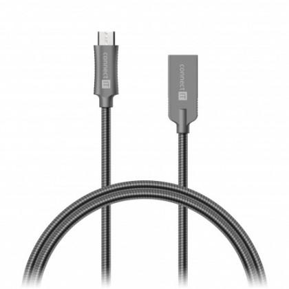 Micro USB káble Kabel Wirez Steel Knight Micro USB-USB, šedá