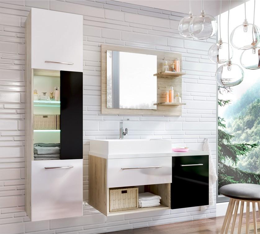Milano - Kúpelňová zostava (čierna/biela,boky sv.dub st.tropez)