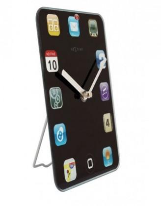 Mini Wall Pad - hodiny, nástenné, hranaté (sklo, červené)