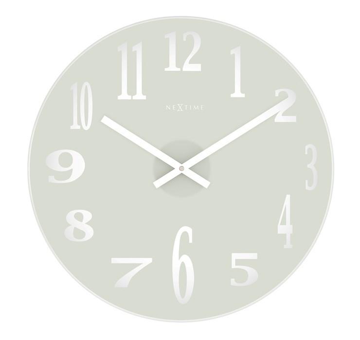 Mirror - hodiny, nástenné, guľaté (sklo, biele)