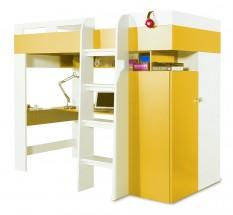 Mobi - Posteľ so stolom 205/165/117 (biela lesk/žltá)
