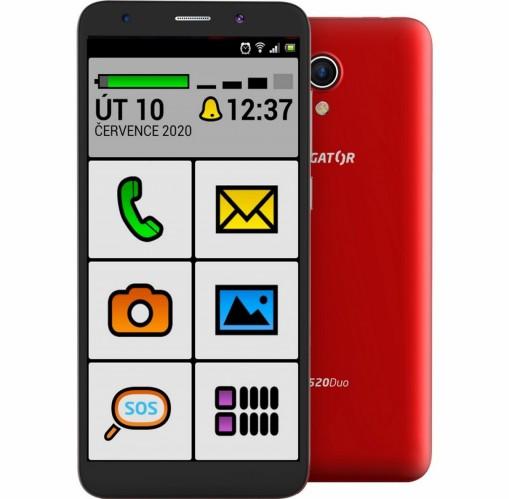 Mobilný telefón ALIGATOR S5520 SENIOR 1GB/16GB, červený POŠKODENÝ + DARČEK Antivir ESET pre Android v hodnote 11,90 Eur