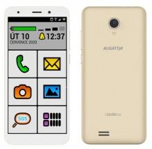 Mobilný telefón ALIGATOR S5520 SENIOR 1GB/16GB, zlatý + DARČEK Antivir Bitdefender pre Android v hodnote 11,90 Eur
