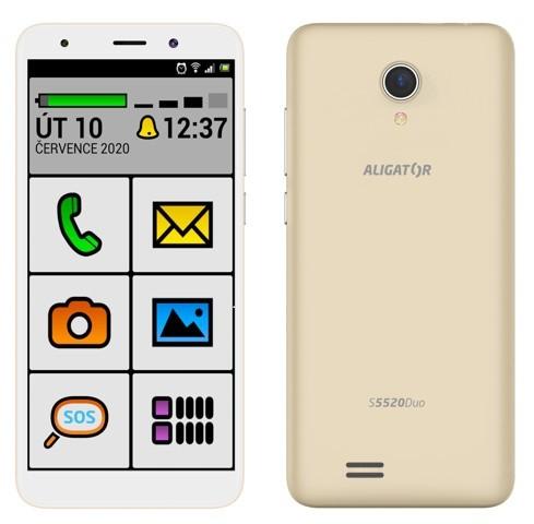 Mobilný telefón ALIGATOR S5520 SENIOR 1GB/16GB, zlatý POUŽITÉ, NE + DARČEK Antivir ESET pre Android v hodnote 11,90 Eur