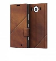Mozo flip kožené puzdro pre Lumia 950, hnedá POUŽITÝ