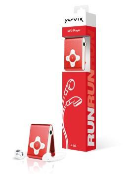 MP3, MP4 prehrávače,discmany Yarvik MP3 prehrávač RUN 4GB Red