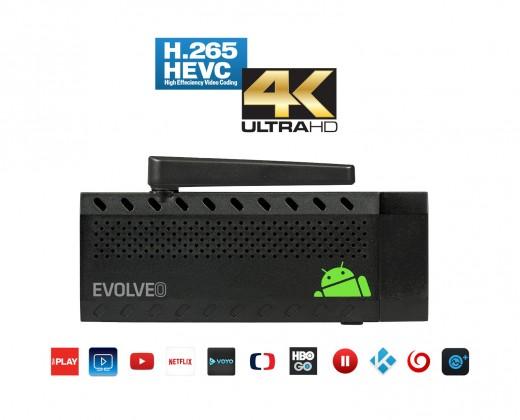 Multimediálne centrum EVOLVEO Android Stick Q3 4K, Quad Core Smart TV stick, 4K video