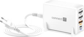 Nabíjacia stanica Connect IT 3xUSB, 1xUSB-C, QC, 65W PD, biela