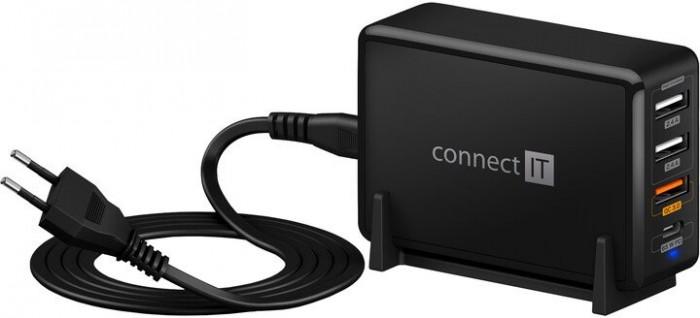 Nabíjacia stanica Connect IT 3xUSB, 1xUSB-C, QC, 65W PD, čierna