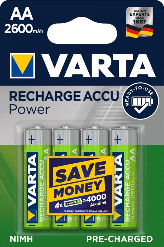 Nabíjacie batérie, nabíjačky Batérie Varta Accu, AA, 2600mAh, 4ks