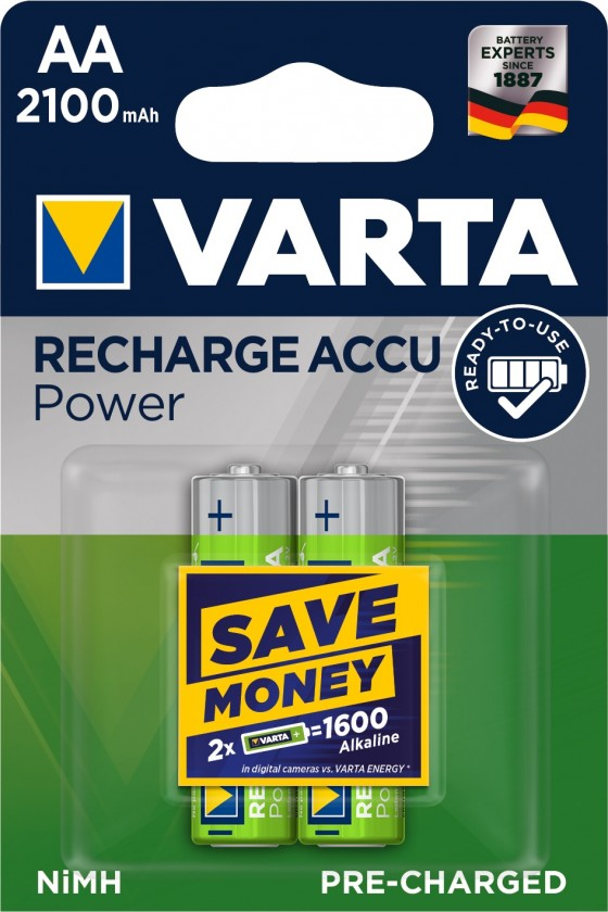 Nabíjacie batérie, nabíjačky Nabíjacie batérie Varta, AA, 2100mAh, 2ks