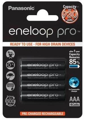 Nabíjacie batérie, nabíjačky Panasonic Eneloop Pro R03/AAA 930mAh, 4 ks, Blister