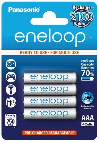 Nabíjacie batérie, nabíjačky Panasonic Eneloop R03/AAA 750mAh, 4 ks, Blister