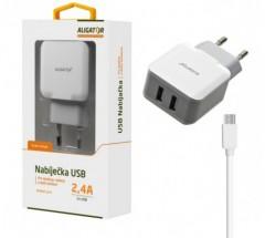 Nabíjačka Aligator 2xUSB 2,4A + kábel Micro USB, biela
