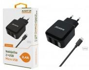 Nabíjačka Aligator 2xUSB 2,4A + kábel Micro USB, čierna