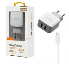 Nabíjačka Aligator 2xUSB 2,4A + kábel USB Typ C, biela
