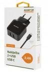 Nabíjačka Aligator 2xUSB 2,4A + kábel USB Typ C, čierna