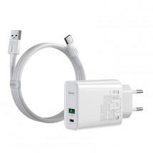 Nabíjačka Baseus, USB-A + USB-C, 30 W, s káblom, biela