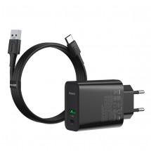 Nabíjačka Baseus, USB-A + USB-C, 30 W, s káblom, čierna