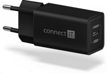 Nabíjačka Connect IT 1xUSB TypC, PD Fast Charge, 18W, čierna