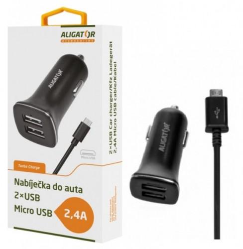 Nabíjačka do auta Aligator 2xUSB 2,4A + kábel Micro USB, čierna