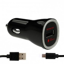 Nabíjačka do auta WG 1xUSB + kábel Micro USB, čierna