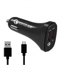 Nabíjačka do auta WG 2xUSB + kábel Micro USB, 4,8A