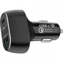 Nabíjačka do auta WG USB-C + USB, 63 W, s káblom, čierna