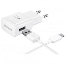 Nabíjačka Samsung 1xUSB 2A + kábel USB Typ C, biela