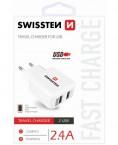 Nabíjačka Swissten 2xUSB 2,4A, biela