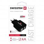Nabíjačka Swissten 2xUSB 2,4A, čierna
