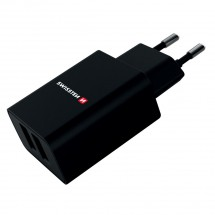 Nabíjačka Swissten 2xUSB, 2,4A Fastcharge, čierna