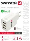 Nabíjačka Swissten 3xUSB 3,1A Smart IC, biela